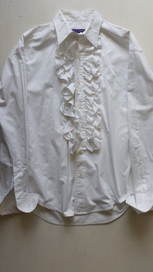 Ralph Lauren Collection, Rüschen-Bluse, weiß, 38, neuwertig, € 1.250, -