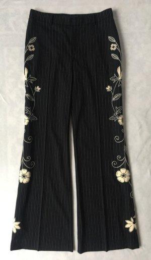 Ralph Lauren Collection, Shayla Pinstriped Wool Pant, schwarz-cream, 38 (US 8), neu, € 2.350, -