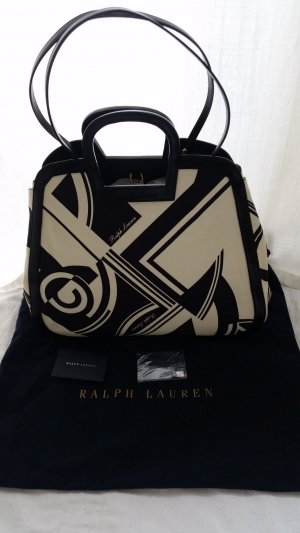 Ralph Lauren Collection, Shopper, schwarz-weiß, Canvas/Leder, neu, € 1.300