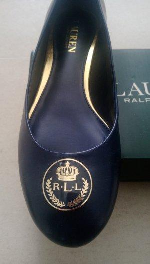 Ralph Lauren Damen dunkelblau gold leder Ballerina Schuhe 37 38