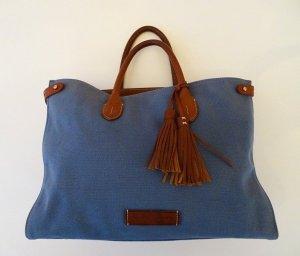 Ralph Lauren Damen Handtasche in mittelblau / braun