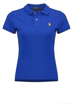 RALPH LAUREN Damen Poloshirt - Gr. XXL - Classic Fit - SMALL PONY - Blau - Shirt