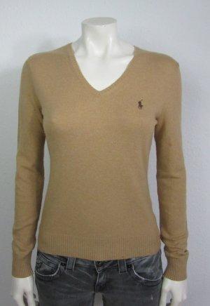 RALPH LAUREN Damen Pullover Gr. M braun Logo Cashmere