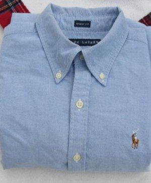 RALPH LAUREN Damenbluse Bluse langarm Blau Gr. 6