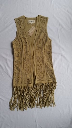 Denim & Supply Ralph Lauren Fringed Vest sand brown suede