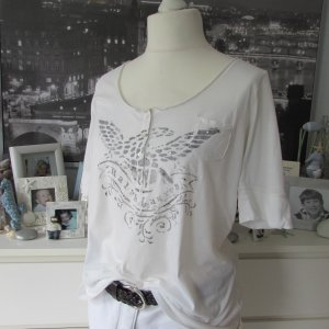 Ralph Lauren * Edles oversize Shirt * offwhite Print+Glitzer * L=42/44