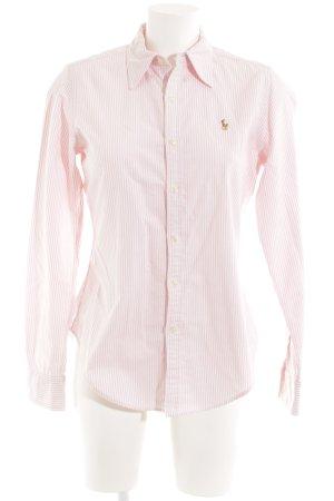 Ralph Lauren Flanellhemd weiß-rosa Streifenmuster Reiter-Look