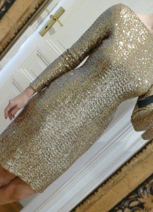 Ralph Lauren Gr. 36 S Kleid mit Pailletten-Besatz Gold NEU Silvester