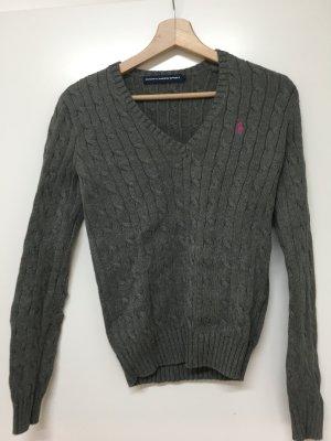 Ralph Lauren / grauer V-Neck Pullover mit Zopfmuster