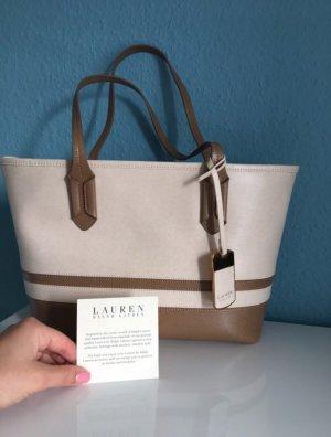 Ralph Lauren Handtasche Echtleder Shopper Gold