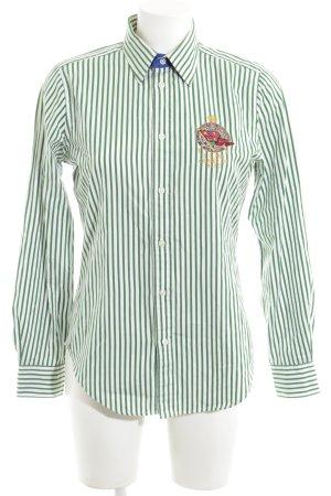 Ralph Lauren Hemd-Bluse grün-weiß Streifenmuster Casual-Look