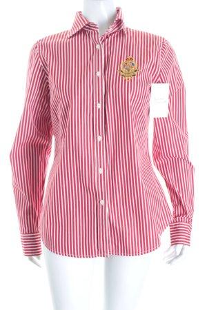 Ralph Lauren Hemd-Bluse dunkelrot-weiß Streifenmuster klassischer Stil