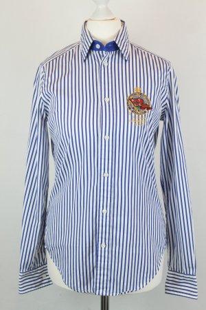 Ralph Lauren Hemd Bluse Gr. US 2 / dt 36 weiß blau Streifen Emblem auf Brust