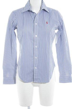 Ralph Lauren Hemd-Bluse weiß-blau Streifenmuster Boyfriend-Look