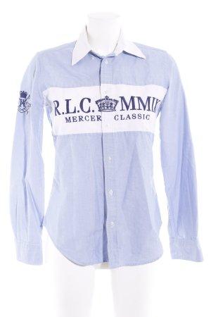 Ralph Lauren Hemd-Bluse weiß-himmelblau Motivdruck Casual-Look