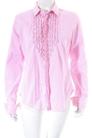 Ralph Lauren Hemd-Bluse weiß-rosa Streifenmuster Romantik-Look