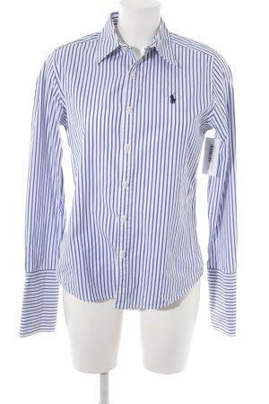 Ralph Lauren Hemd-Bluse weiß-stahlblau Streifenmuster klassischer Stil