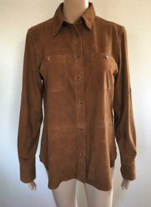 Ralph Lauren Leather Shirt cognac-coloured suede