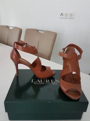 Ralph Lauren High Heels Sandaletten Gr. 37 braun cognac Neu