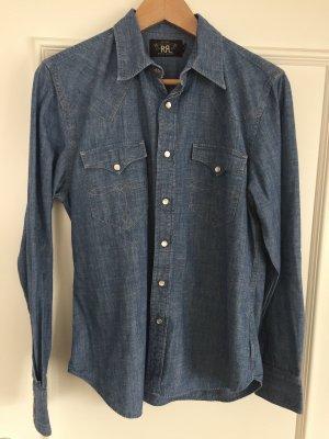Lauren Jeans Co. Ralph Lauren Jeans blouse staalblauw-korenblauw