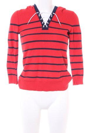Ralph Lauren Kapuzenpullover rot-dunkelblau Streifenmuster Casual-Look