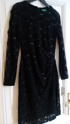 Ralph Lauren Kleid Cocktailkleid florale Spitze Gr 36 S schwarz Abendkleid