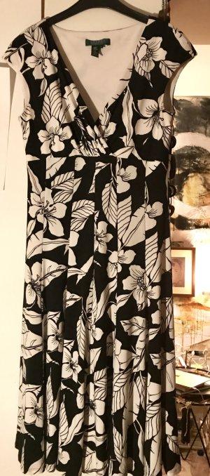 Ralph Lauren Kleid edel und chic 36-38 Lilien schwarz-weiß 36-38