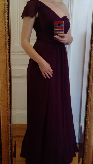 Ralph Lauren Kleid Gr 36 S One-Shoulder Abendkleid mit Raffungen purpur