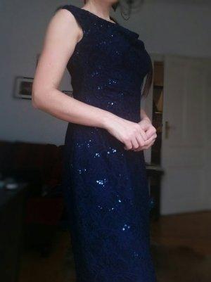 Ralph Lauren Kleid Spitze Gr 38 40 M Blau Cocktailkleid Abendkleid Sommerkleid