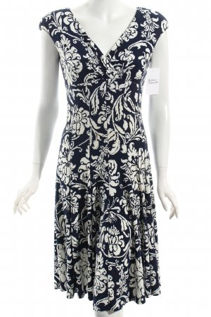 Ralph Lauren Kleid weiß-dunkelblau florales Muster klassischer Stil