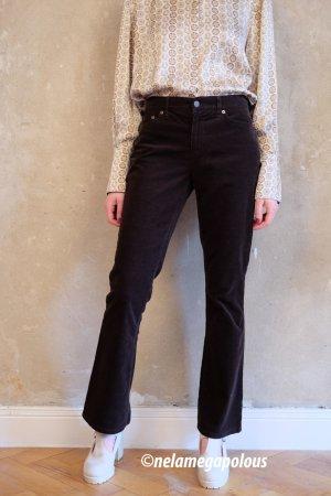 Lauren by Ralph Lauren Pantalon taille haute brun foncé coton