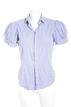 Ralph Lauren Kurzarm-Bluse stahlblau-weiß Streifenmuster schlichter Stil
