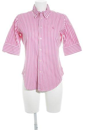 Ralph Lauren Kurzarm-Bluse weiß-magenta Streifenmuster Casual-Look
