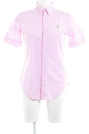 Ralph Lauren Camicia a maniche corte bianco-rosa motivo a quadri stile casual
