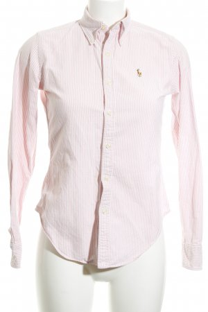 Ralph Lauren Langarm-Bluse nude-weiß Streifenmuster Elegant