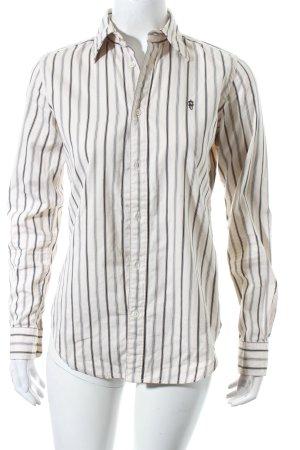 Ralph Lauren Camicetta a maniche lunghe beige-nero motivo a righe stile classico