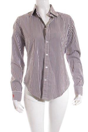 Ralph Lauren Langarm-Bluse dunkelbraun-weiß Streifenmuster Casual-Look