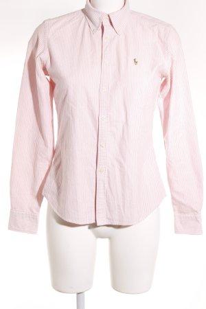Ralph Lauren Langarm-Bluse rosa-weiß Streifenmuster klassischer Stil