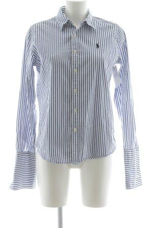 Ralph Lauren Langarm-Bluse stahlblau-weiß Streifenmuster Business-Look