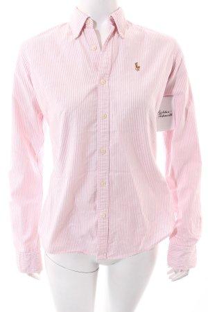 Ralph Lauren Langarm-Bluse weiß-rosa Streifenmuster Casual-Look