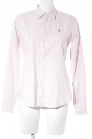 Ralph Lauren Camisa de manga larga rosa claro-blanco estampado a rayas