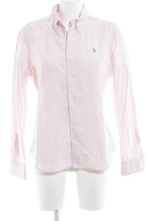 Ralph Lauren Camisa de manga larga rojo claro-blanco estampado a rayas