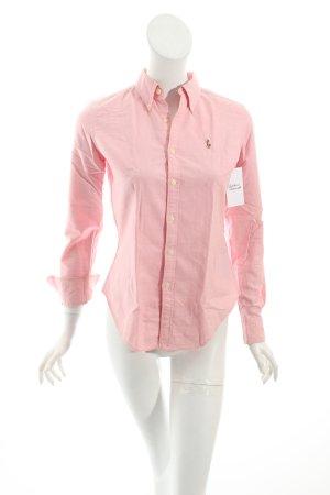 Ralph Lauren Langarmhemd rosa Logostickerei