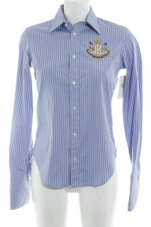 Ralph Lauren Langarmhemd stahlblau-weiß Streifenmuster Casual-Look