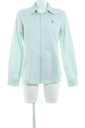 Ralph Lauren Langarmhemd weiß-hellgrün Streifenmuster Casual-Look