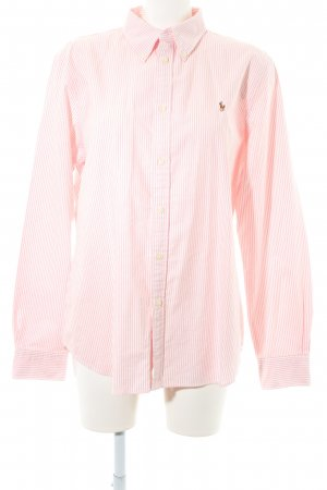 Ralph Lauren Langarmhemd weiß-rosa Streifenmuster Casual-Look