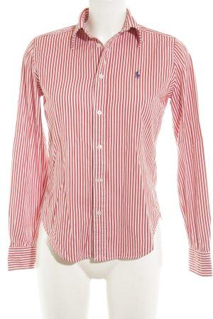 Ralph Lauren Langarmhemd weiß-rot Streifenmuster Casual-Look