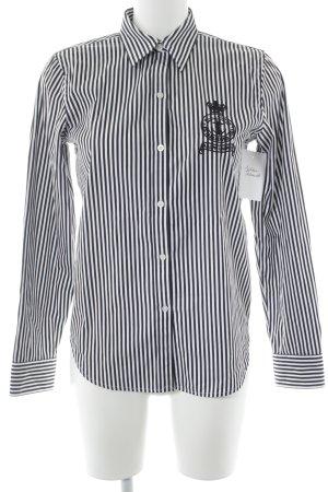 Ralph Lauren Chemise à manches longues blanc-noir motif rayé style athlétique