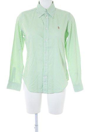 Ralph Lauren Langarmhemd weiß-wiesengrün Streifenmuster Elegant