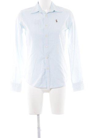Ralph Lauren Langarmhemd wollweiß-babyblau Streifenmuster Business-Look